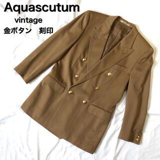 アクアスキュータム(AQUA SCUTUM)の美品 Aquascutum ダブルジャケット  刻印 vintage 金ボタン(テーラードジャケット)