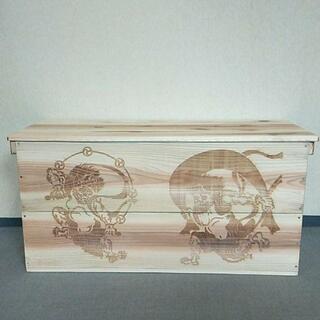 《在庫商品14》風神雷神 レーザー彫刻 収納BOX リメイク ハンドメイド 無垢(リビング収納)