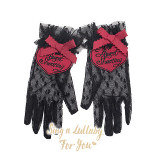 アンジェリックプリティー(Angelic Pretty)のハートレース 黒赤手袋 ゴシックロリータ やみかわ  ゆめかわ 量産系 地雷系(手袋)