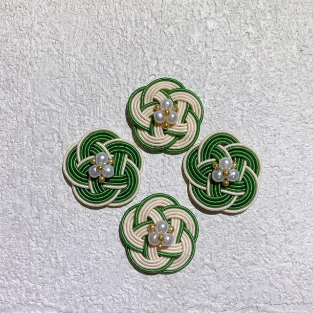 グリーン×アイボリー❁コットンパールピアス ハンドメイドのアクセサリー(ピアス)の商品写真