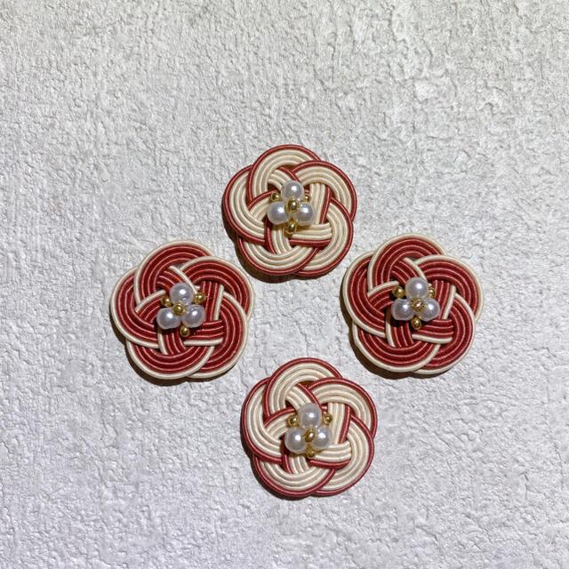 アイボリー×ダスティピンク❁コットンパールピアス ハンドメイドのアクセサリー(ピアス)の商品写真