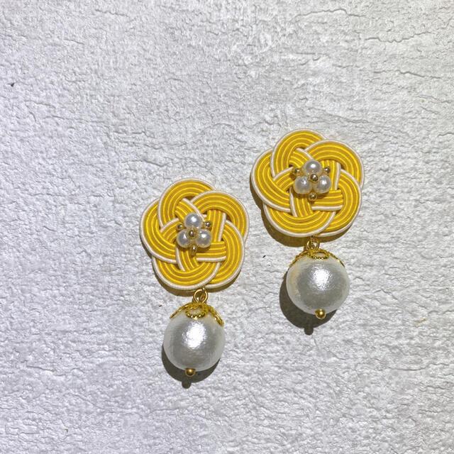 イエロー×アイボリー❁コットンパールピアス ハンドメイドのアクセサリー(ピアス)の商品写真