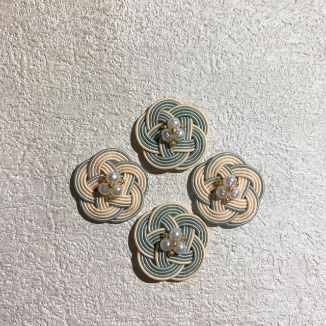 アイボリー×グレー❁コットンパール ハンドメイドのアクセサリー(ピアス)の商品写真
