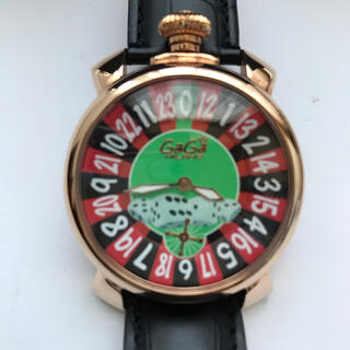 ガガミラノ(GaGa MILANO)のルーレット盤腕時計 ピンクゴールド黒ベルト 赤ベルト付き 美品 (腕時計)