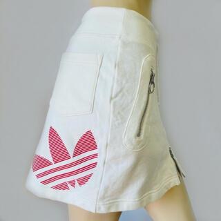 アディダス(adidas)のadidas★フルジップ ビッグアイコンプリント コットンミニスカート(M)(ミニスカート)