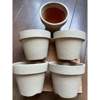 中古の素焼き鉢リメイク品5個セット(プランター)
