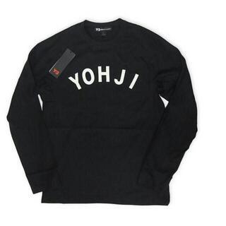 ワイスリー(Y-3)の新品タグ付き Y-3ヨウジヤマモト ロゴカットソー メンズS ユニセックス黒(Tシャツ/カットソー(七分/長袖))