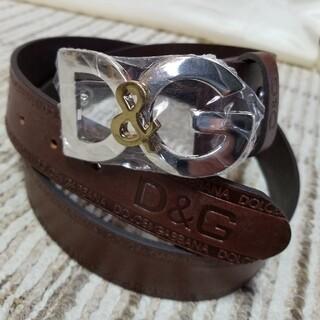 ドルチェアンドガッバーナ(DOLCE&GABBANA)の★D&G ★型押しロゴレザーベルト  ダークブラウン(ベルト)