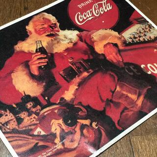 コカコーラ(コカ・コーラ)のコカコーラ サンタクロース クリスマスプレート ブリキ看板 405×315(ソフトドリンク)