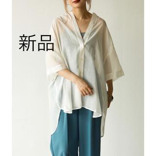 【新品】aic  エーアイシーバンドカラー・BIGシルエット半袖シアーシャツ