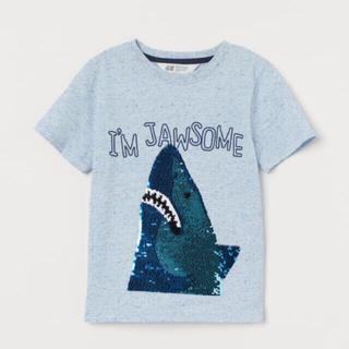 エイチアンドエム(H&M)の新品☆ スパンコール サメ 半袖 110/115(Tシャツ/カットソー)
