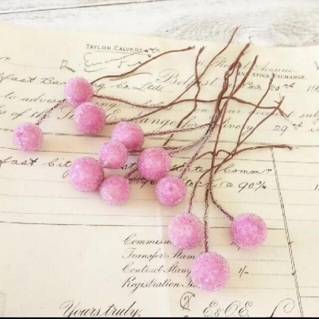 シュガーベリーピック   ピンク 12本 ハンドメイドのフラワー/ガーデン(ドライフラワー)の商品写真