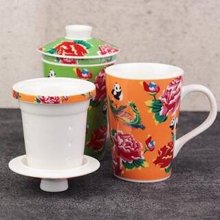 カルディ(KALDI)のカルディ台湾茶こし付きマグカップオレンジ(グラス/カップ)
