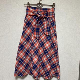 バックナンバー(BACK NUMBER)の美品☆バックナンバー☆フロントリボンデザインチェックロングスカート(ロングスカート)