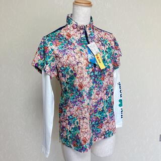 未使用タグ付き ジュンアンドロペ 長袖ハイネックシャツ ネイビー×白 花柄 M(ウエア)
