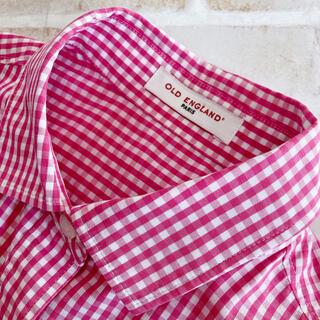 オールドイングランド(OLD ENGLAND)の美品 オールドイングランド 半袖シャツ ギンガムチェック ピンク 36(シャツ/ブラウス(半袖/袖なし))
