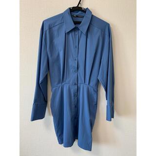 ザラ(ZARA)のZARAロングシャツ ブルーシャツ(その他)