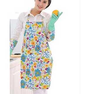 エプロン 家庭用 キッチン用 かわいい ポケット 防水 抗油 ブルー 花柄(その他)