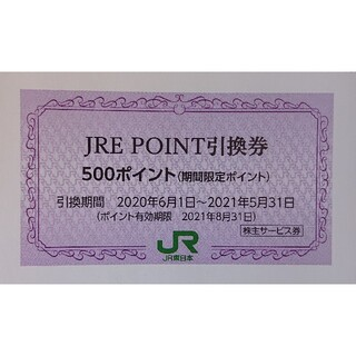 1枚 JRE POINT 500ポイント引換券 JREポイント 株主優待券(ショッピング)