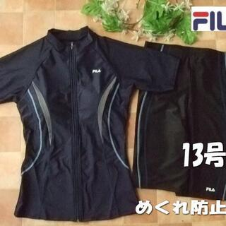 FILA - 新品◆FILAフィラ・袖付フィットネス水着・13号L・ネイビー×紺グレー黒