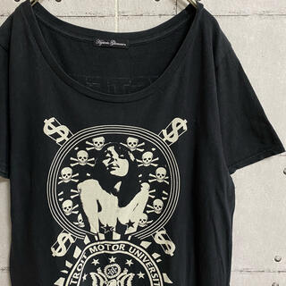 ヒステリックグラマー(HYSTERIC GLAMOUR)のヒステリックグラマー シャツワンピ ワンピース 半袖 tシャツ ブラック 黒(ミニワンピース)