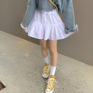 スタイルナンダ(STYLENANDA)の韓国 ティアード スカート ホワイト アイボリー(ミニスカート)