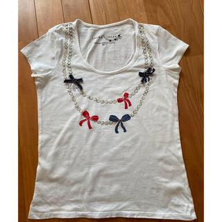 ローラアシュレイ(LAURA ASHLEY)のローラアシュレイ リボン付きTシャツ 半袖 FAIRTRADE (Tシャツ(半袖/袖なし))