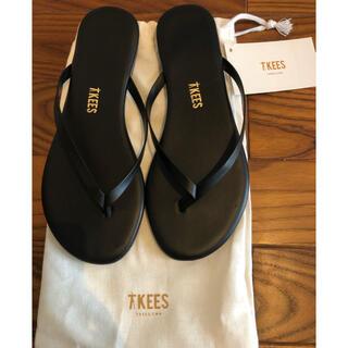 ユナイテッドアローズ(UNITED ARROWS)の新品未使用 TKEES ティーキーズ サンダル 黒 ブラック USA5 36(サンダル)