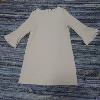 ベネトン(BENETTON)のペコちゃん様専用  九分袖 オフホワイト ワンピース(ひざ丈ワンピース)