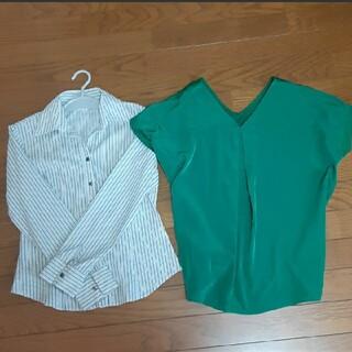 オゾック(OZOC)の3点セット タンクトップ緑&新品ブラウス&ストライプシャツ(シャツ/ブラウス(長袖/七分))