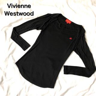 ヴィヴィアンウエストウッド(Vivienne Westwood)のVivienne Westwood 変形トップス 刺繍 ワンポイント 長袖 黒(シャツ/ブラウス(長袖/七分))