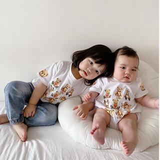 コドモビームス(こども ビームス)のリンクコーデ animal  Tシャツ くま うさぎ ロンパース ホワイト (Tシャツ)