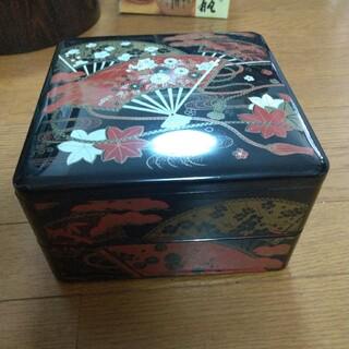 重箱 二段  扇子 黒(食器)
