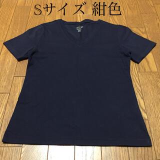 ジーユー(GU)のGU ジーユー Vネック Tシャツ 紺色 スリムフィットSサイズ(その他)