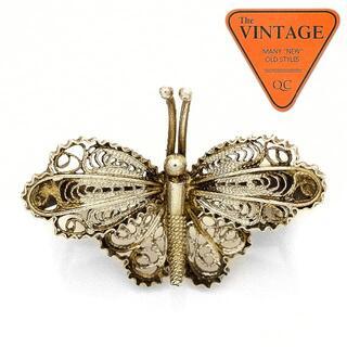 USAヴィンテージシルバー800バタフライ蝶 彫金ブローチピンバッジアクセサリー(ブローチ/コサージュ)
