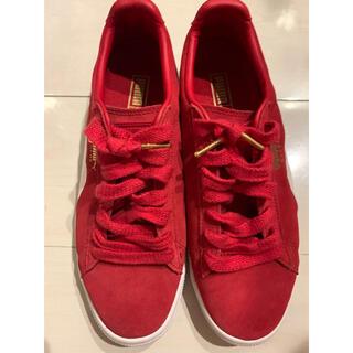 プーマ(PUMA)のプーマ PUMA レアな赤いスニーカー 24.5cm 1回着用の美品 箱なし(スニーカー)