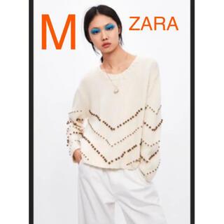 ザラ(ZARA)の【新品タグ付き】ZARA CLASSY掲載 ビジュー付きニットセーター M 完売(ニット/セーター)