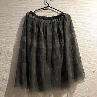 グローブ(grove)のgroveチュールスカートカーキー(ひざ丈スカート)