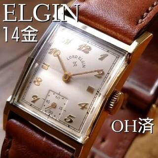 エルジン(ELGIN)のOH済◎美品】14金張 エルジン 1940's アンティーク スモセコ 手巻(腕時計(アナログ))
