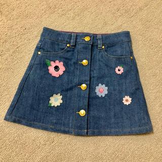 ケイトスペードニューヨーク(kate spade new york)の美品 ケイトスペード  デニムスカート 刺繍 花柄 100 110 おしゃれ(スカート)