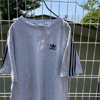 アディダス(adidas)のadidas トレフォイル tシャツ 3本ライン 刺繍ロゴ vintage(Tシャツ(半袖/袖なし))