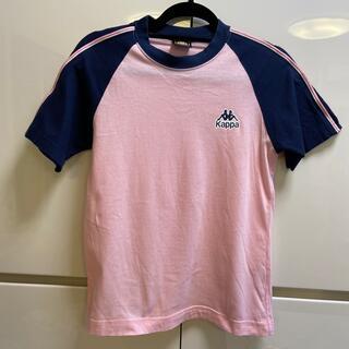 カッパ(Kappa)の美品☆Kappaピンク×ネイビーTシャツ150サイズ(Tシャツ/カットソー)