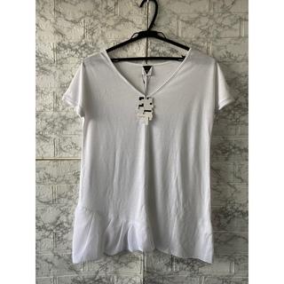 ロイヤルパーティー(ROYAL PARTY)のルーミーズアシンメトリーシフォンTシャツホワイト(Tシャツ(半袖/袖なし))