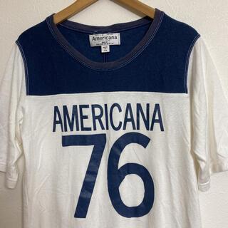 アメリカーナ(AMERICANA)のアメリカーナ Americana  フットボールTシャツ ホワイト/ネイビー(Tシャツ(半袖/袖なし))