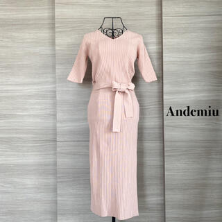 Andemiu  アンデミュウ  春リブニットワンピース ピンク F