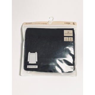 ジーユー(GU)のGU ジーユー ウルトラコットレースワイドネックT 8分袖 ブラック インナー(アンダーシャツ/防寒インナー)