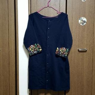 グラニフ(Design Tshirts Store graniph)のgraniph お花刺繍七部袖スウェットワンピース(ひざ丈ワンピース)