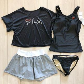FILA - 新品 FILA フィラ 水着 4点セット タンキニ スポーツ BK L
