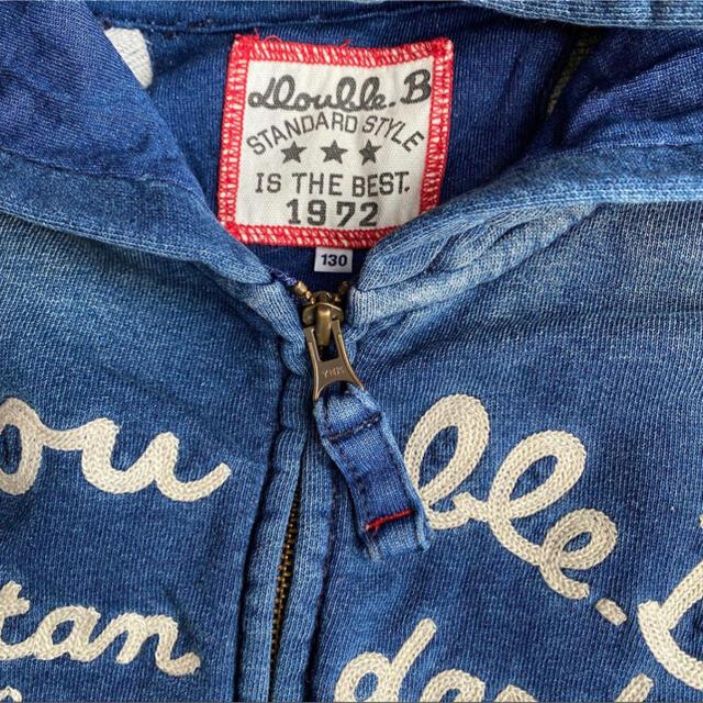 DOUBLE.B(ダブルビー)の美品 ミキハウス ダブルビー ダメージデニム風パーカー 100 130cm キッズ/ベビー/マタニティのキッズ服男の子用(90cm~)(ジャケット/上着)の商品写真