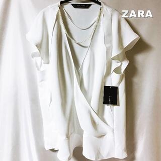 ZARA - 【ZARA】アクセサリー付 カシュクール カットソー タグ付未使用